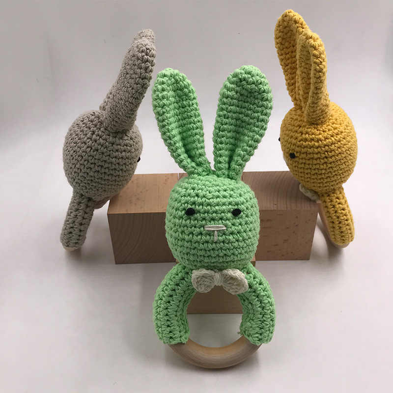 Sonajero de bebé Crochet Amigurumi, sonajero de conejo, juguete educativo Montessori para recién nacido, juguete sonajero para bebé de 0 a 12 meses