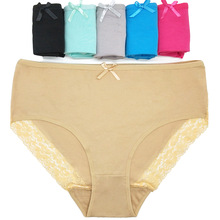 3pcs/lot Cotton Plus Size Ladies Mommy Panties Hot Womens Big size Underwear Lace Transparent Briefs Lingerie