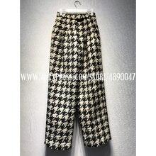 Осень-зима 219, черные, коричневые повседневные брюки в клетку, брюки с высокой талией, толстые твидовые модные женские брюки