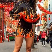 Felpa con stampa a fuoco fiammeggiante autunnale Sweetown 2019 Streetwear moda Casual Plus Size pullover da donna felpe a manica lunga