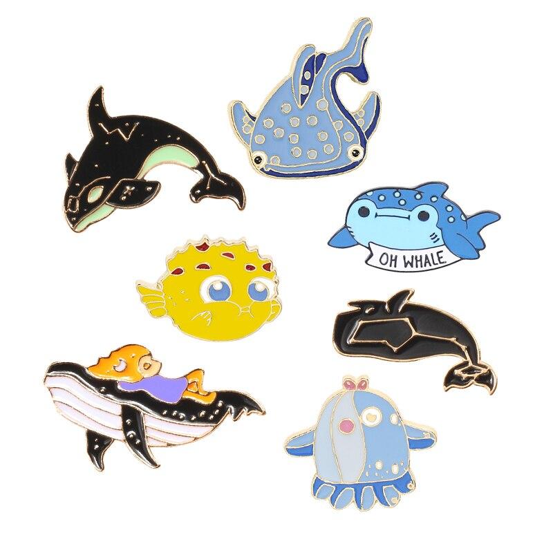 Cartoon-Tier Unterwasserwelt Hai Wal Kofferfisch Brosche Pins Email