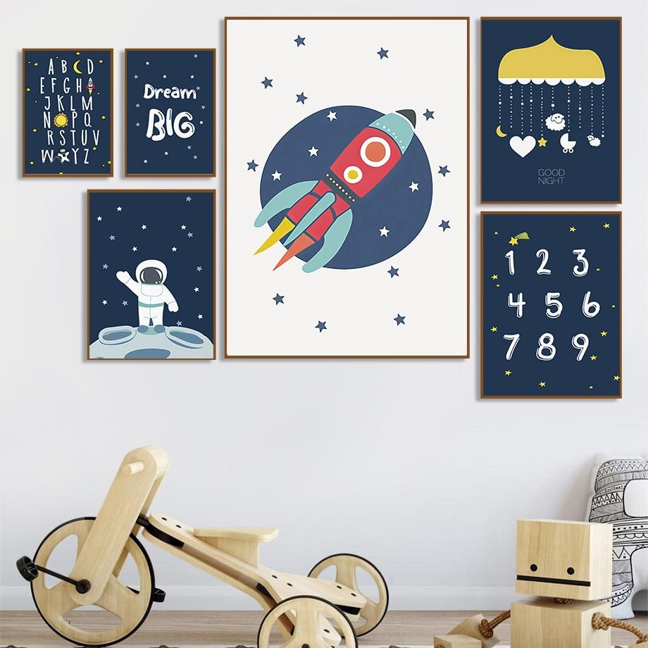 Raum Rakete Astronaut Sterne Anzahl Brief Traum Nordic Poster Und Drucke Wand Kunst Leinwand Malerei Wand Bilder Kids Room Decor