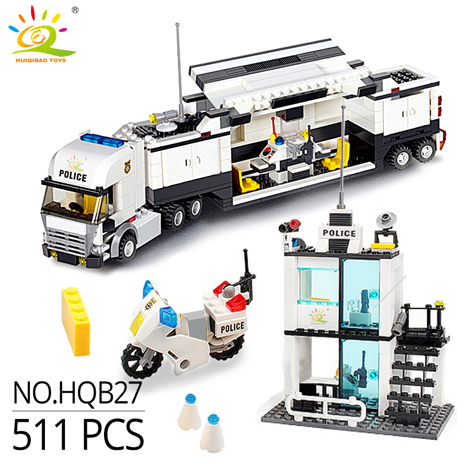 Image 3 - HUIQIBAO 536pcs Police Station Prison Trucks Building Blocks City Car Boat Helicopter policeman Bricks Children Toys KIDS GIFTtoys forblocks policeblocks police station -