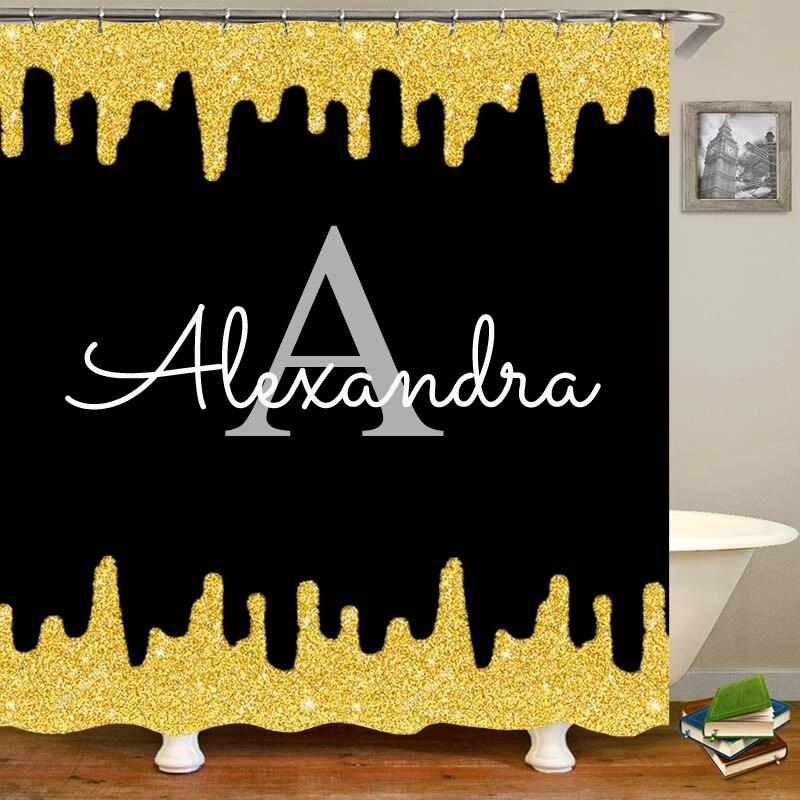 trendy sparkly glitter drips black gold shower curtain personalised name monogram bathroom curtains custom minimal glam decor