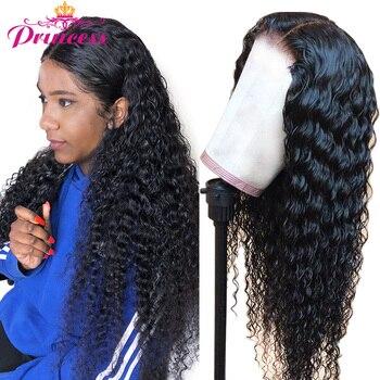 13x4 koronki przodu peruki z ludzkich włosów wstępnie oskubane dla kobiet brazylijski głęboka koronkowa fala Frontal peruka z dzieckiem włosy Remy włosy księżniczki