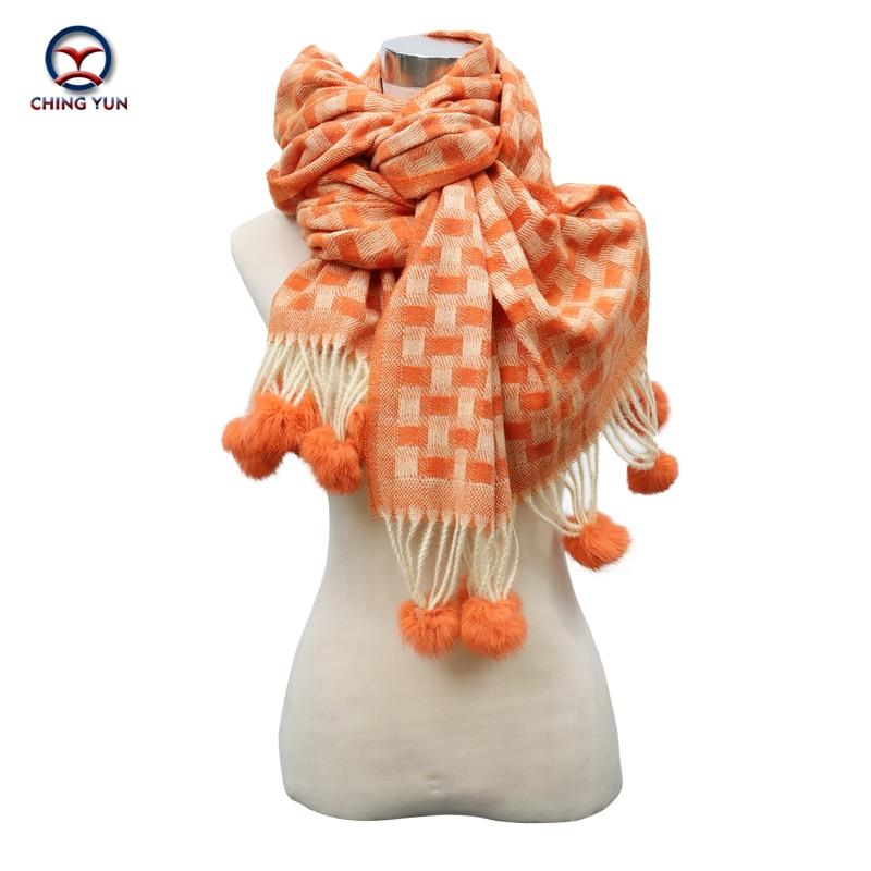 2020 autumn winter fashion Scarves cashmere hanging ball plaid soft Winter Women long Shawls warm scarf Bright colour lady scarf