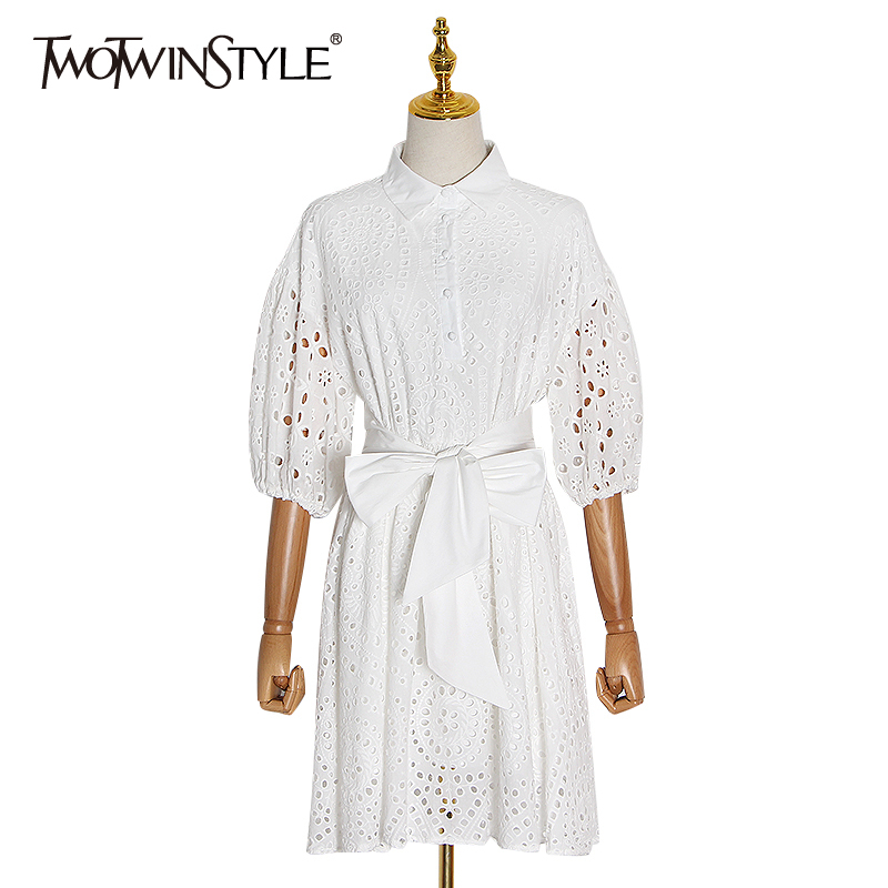 TWOTWINSTYLE Hollow Out Dress Women Lapel Collar Lantern Sleeve High Waist Lace Up Ruched Mini Dresses Female 2020 Clothing Tide