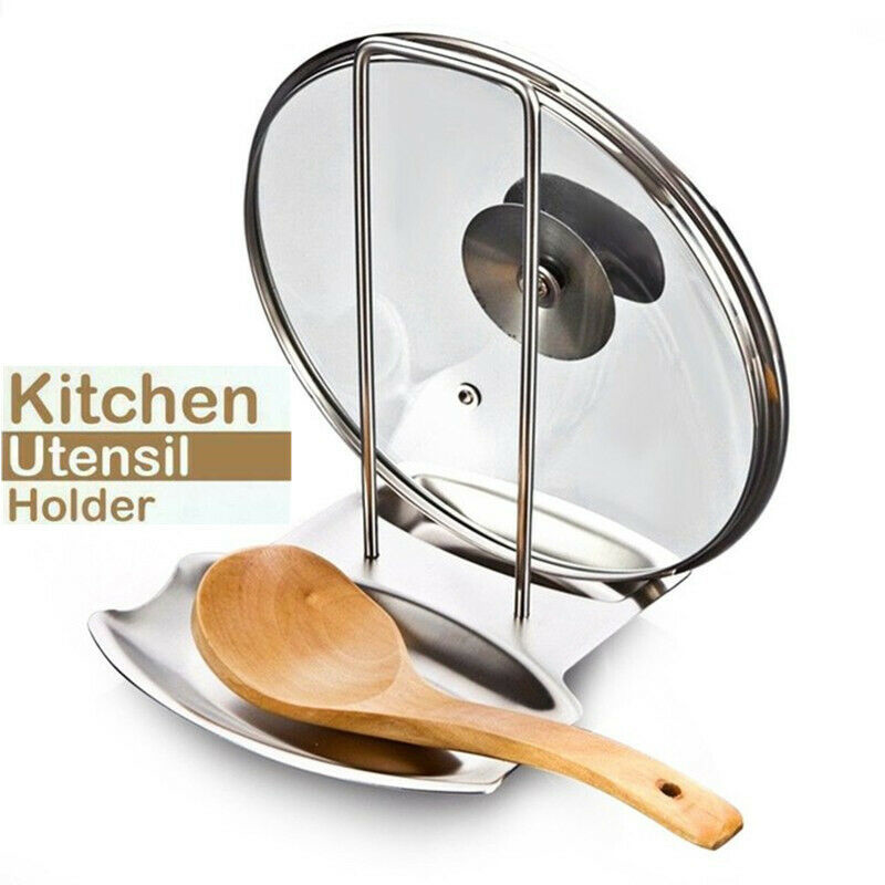 2 in 1 Kitchen Utensil Holder Stainless Steel Multi function Pot Cover Holder Rack SDF SHIP|Spoon Rests & Pot Clips| |  - title=