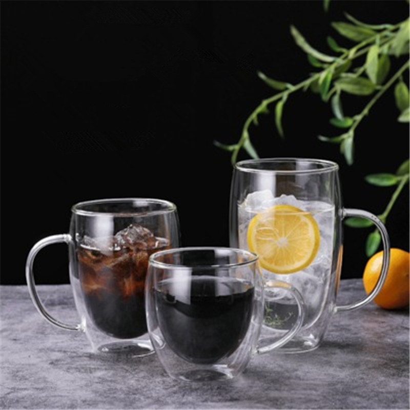 Double Wall coffee cup heat resistant glass creative tea cup heat insulation water cup cold drink milk cup juice drinkware mug|Mugs| - AliExpress