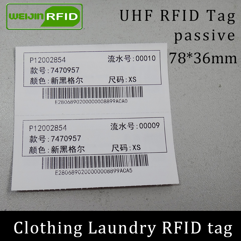 UHF RFID Laundry Tag Washable Printable Clothing Chip 78x36 915 868 860-960M NXP Ucode7 EPC Gen2 6C Smart Card Passive RFID Tags