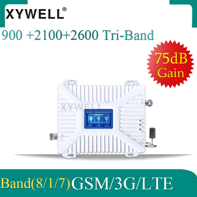 Russia 900/2100/2600 Tri Band Mobile Phone Repeater 4g Booster GSM Signal Booster 2G 3G 4G 75dB GSM UMTS LTE GSM 3g 4g Amplifier