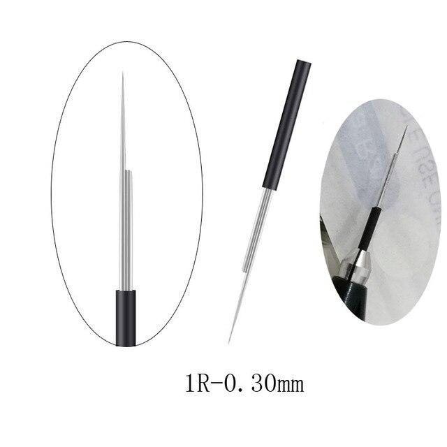 Maquillage Semi-Permanent rond 1 Dia 0.30mm aiguilles Microblade aiguille de brouillard manuelle aiguille de tatouage de sourcil