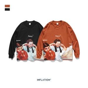 Image 5 - INFLATION Men Sweatshirt Children Print Fleece Men Sweatshirt In Orange And BLack Men Loose Fit Streetwear Men Sweatshirt 9630W