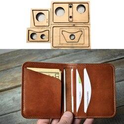 Regla de hoja de acero de Japón troquelado tarjetero billetera minimalista billetera doble billetera pequeña de cuero troqueles de madera para artesanías de cuero