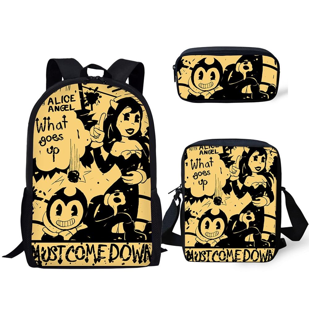 HaoYun Backpack Kids Book-bags Bendy And The Ink Machine Pattern School Bags Cartoon 3PC/Set Teenagers Shoulder Book Bag Mochila