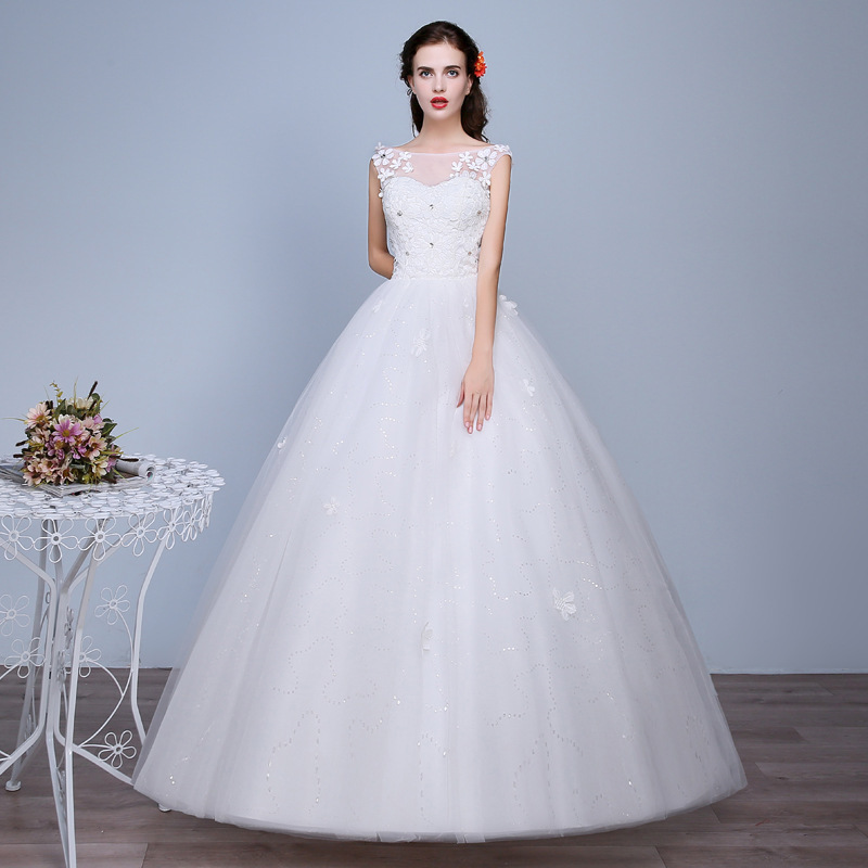 Vestido Cocktail Limited Wedding Dresses 2020 New Korean Bride Dress Shoulder Neat, Big Yards Of Cultivate Morality Show Thin
