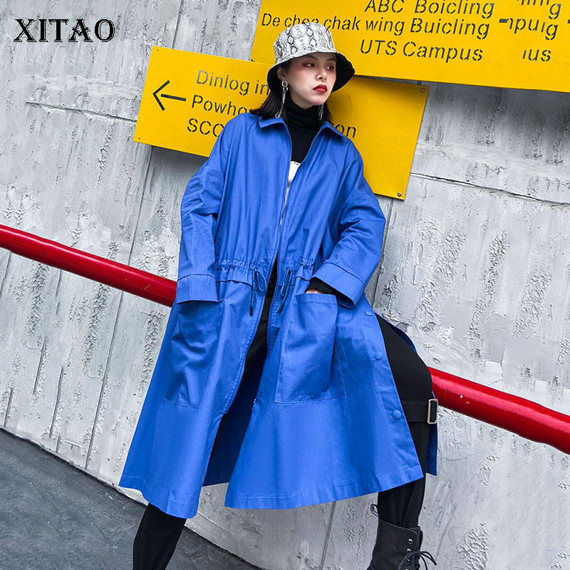 XITAO Streetwear Blue Trench Coat For Women Plus Size Polo Collar Zipper Long Coat Fashion Windbreaker Spring Autumn DMY2739