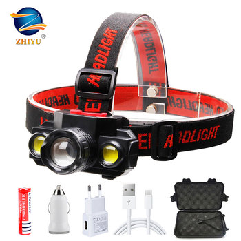 ZHIYU Portable T6 COB Headlamps 4 Modes 18650 Head Flashlight USB Rechargeable Handband Lights Zoomable Mini Fishing Headlights 1