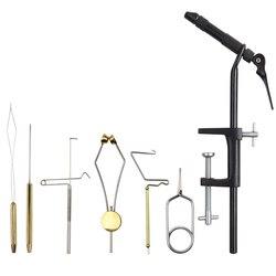 Fly Subordinação Vise com C-Braçadeira de aço Latão rotativo conjunto suporte de linha da bobina para a pesca com mosca gancho finalizador whin ferramentas subordinação