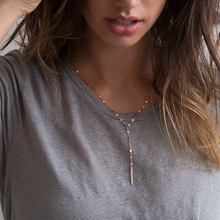 Fashion Long Stick Pendant Necklaces Stainless Steel Choker Necklace Silver Gold Color Chain Strip N
