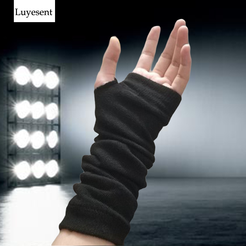 Punk Solid Black Stretch Gothic Unisex Glove Fingerless Cuff Ninja Sport Elbow Length Mitten 2020 Cool Women Men Rock Arm Warmer