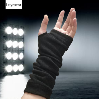Punk Solid Black Stretch Gothic Unisex Glove Fingerless Cuff Ninja Sport Elbow Length Mitten 2021 Cool Women Men Rock Arm Warmer - discount item  31% OFF Gloves & Mittens