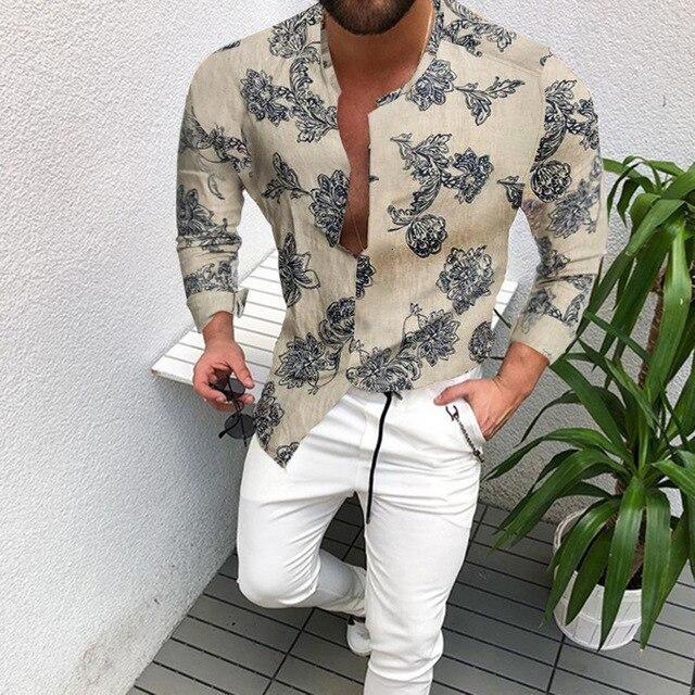 Autumn Man Vintage Slim Fit Shirt 2020 New Men Ethnic Print Stand Collar Long Sleeve Oversized Men Shirt Poleras Hombre Clothing