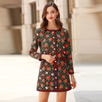 VERDEJULIAY Letter Print Suit 2020 Summer Spring New Fashion Women Strawberry Print Long Sleeve Pockets Top + Mini Skirt Suit