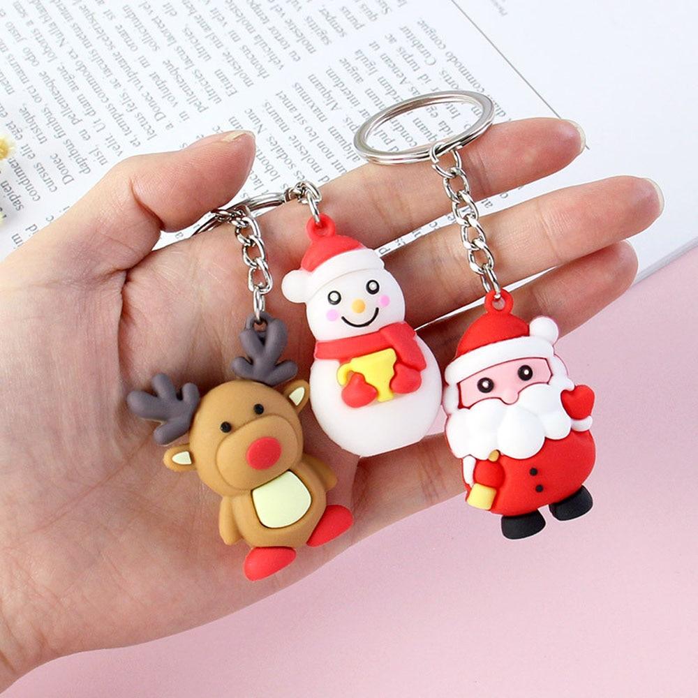 Merry Christmas Ornaments Christmas Tree Decorations 2019 Noel Santa Claus Snowman Elk Keychain Pendants Christmas Party Decor