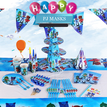 16PCS pj mask Cartoon character Catboy Owlette Gekko Birthday decorations theme party disposable tableware supplies toys set2B33