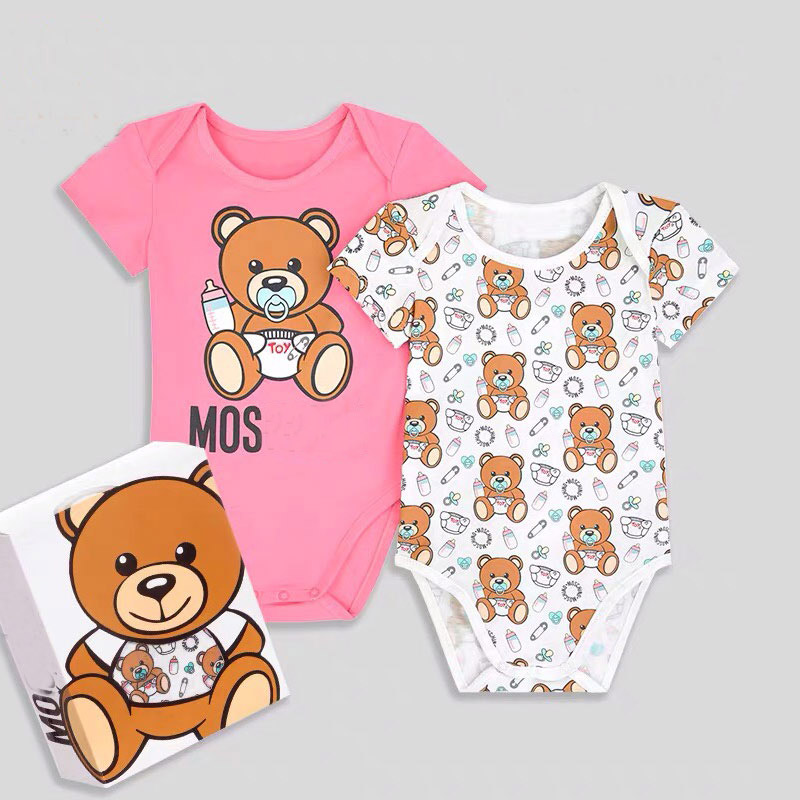 2PCS High Quality Newborn Baby Clothes Baby Girl Clothes Infant Boys Jumpsuit Baby Clothing Set  Baby Cartoon Bear Rompers
