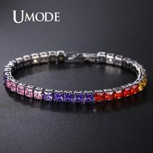 UMODE Fashion Crystal Round Tennis Bracelets For Women Wedding Charm Bracelet & Bangles Pulseras Mujer Statement Jewelry UB0178E luxury cz crystal tennis bracelets for women silver gold charm bangles fashion female wedding party jewelry pulseras mujer moda