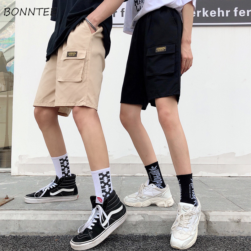 Shorts Women Summer Harajuku Korean Style Couple Simple Retro Womens Cargo Sports Loose Casual Pockets Straight BF Short Elastic