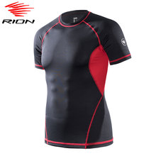RION Men Compression Shirts Workout Sports Running Shirts Quick Dry Gym Shirts Fitness Athletic Training T Shirts Top cheap Spring summer AUTUMN Polyester Fits true to size take your normal size Y813086-30 quick dry breathable gym fitness running training sportswear
