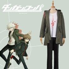 Sudadera con capucha de Super Danganronpa 2 para adulto, traje de Cosplay de Anime de Nagito Komaeda Nagito, chaqueta verde militar con cremallera, pantalones de camiseta para Halloween