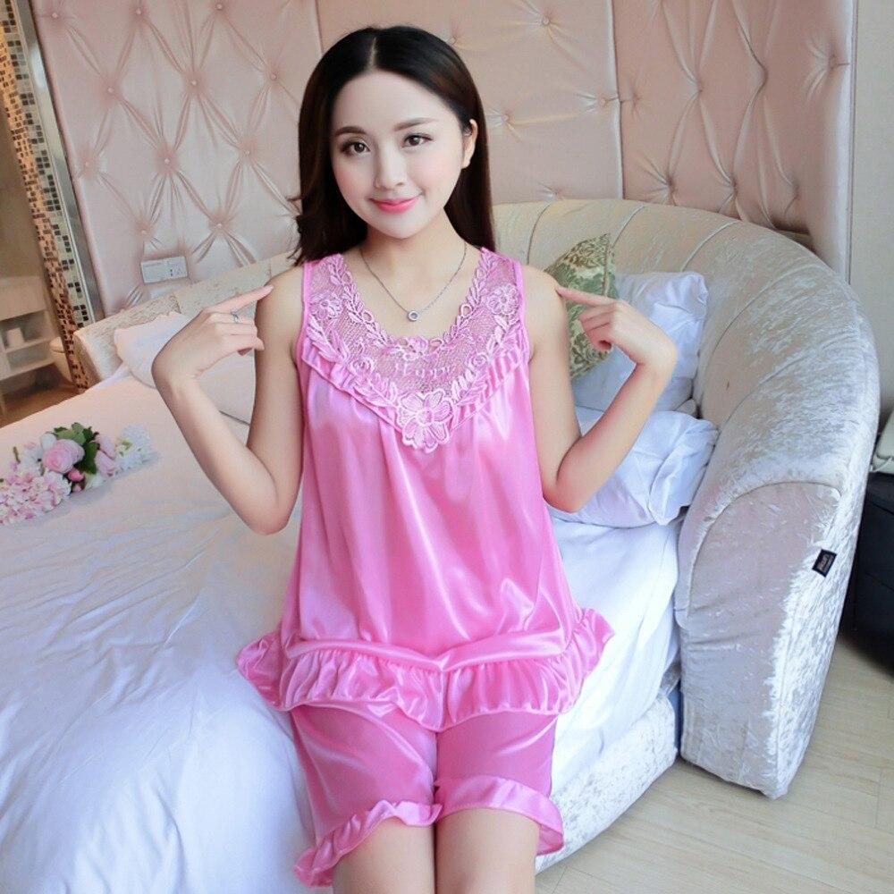 Pajamas WOMEN'S Tank Top Sleeveless Viscose Silk Fabrics Sexy Shorts Set Two-Piece Set Women's Summer Vest Tracksuit