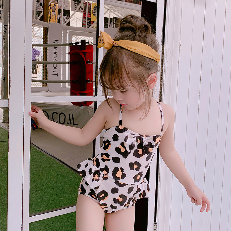 Girl'S Swimsuit One-piece Cute Children Leopord Pattern Boxer Swim Bathing Suit Small Children Baby Bow Skirt Swimming Suit