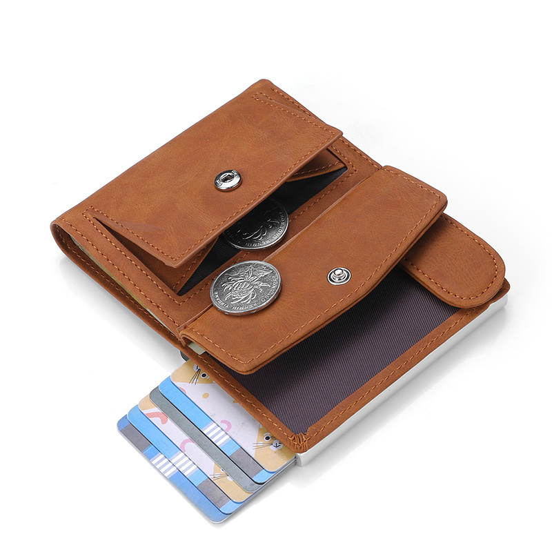 DIENQI Rfid Genuine Leather Men Wallets Card Holder Slim Thin Smart Magic Wallet Small Short Coin Purse Male 2021 Brown Vallet