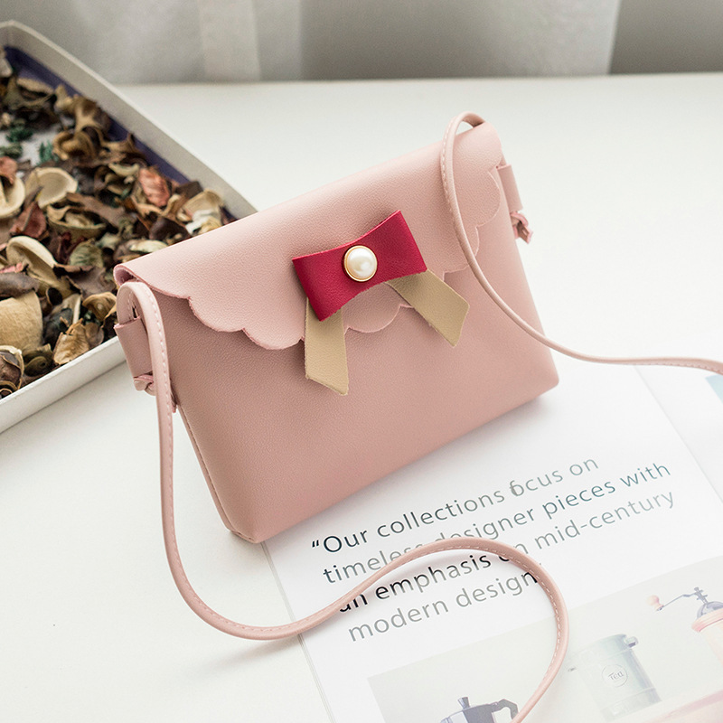 Creative Women's Purse 2018 Spring New Products Package Cover Type Bow Pearl Shoulder Mobile Phone Bag