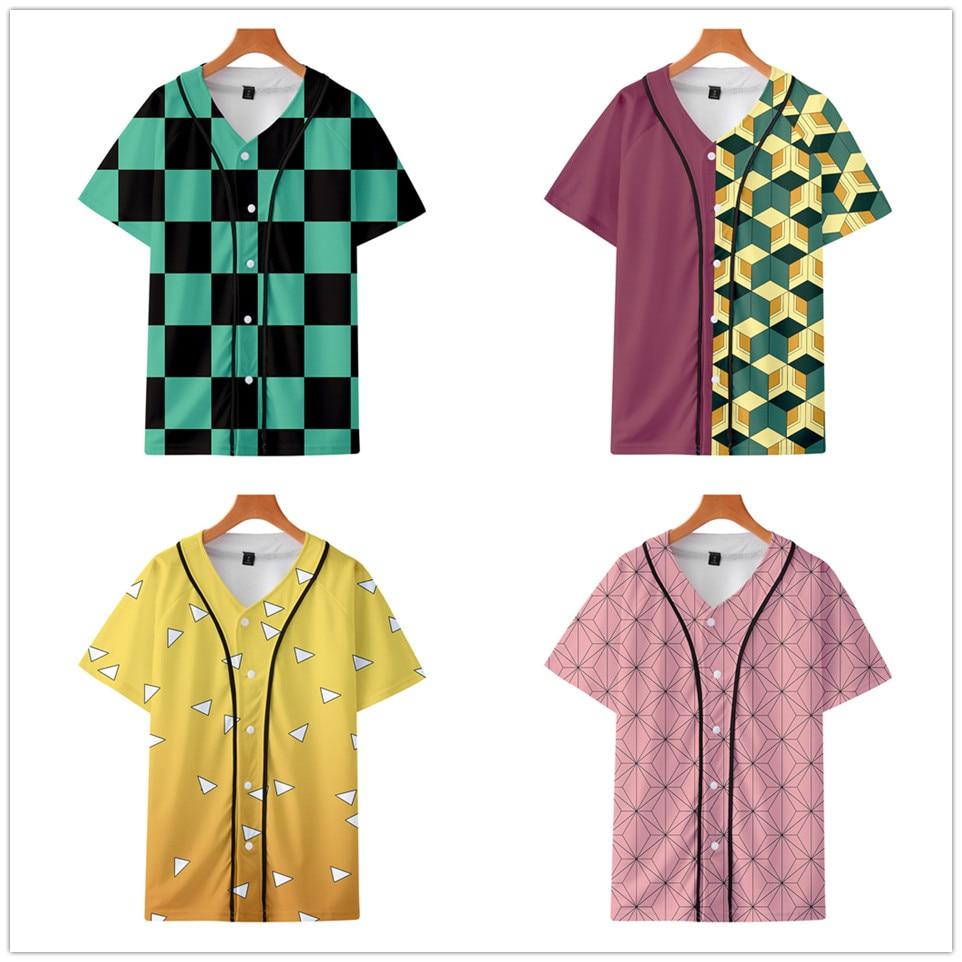 Anime Demon Slayer Kimetsu No Yaiba Cosplay Tanjiro Kamado Baseball T-shirt Short Sleeve T Shirt Fashion Harajuku Tshirt Clothes