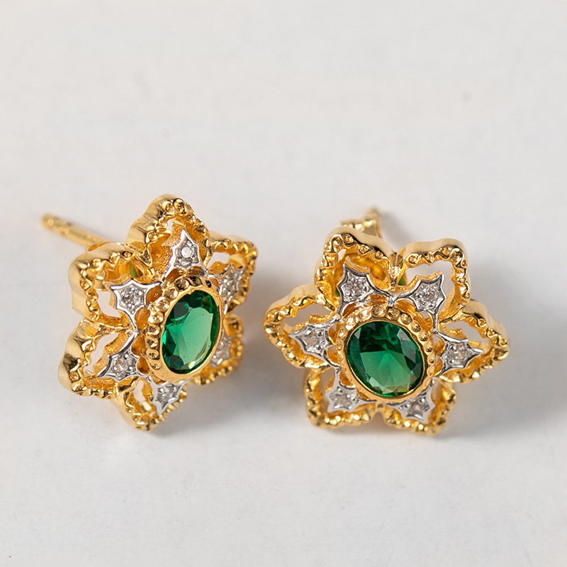 Artisanat italien Royal or Floral Zircon oreille boucles d'oreilles femmes 925 boucles d'oreilles en argent Sterling bijoux de mode boucles d'oreilles rétro Court