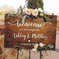 Pegatinas de vinilo de estilo francés para espejo de boda, calcomanía personalizada con nombres, signo de bienvenida de boda, murales, decoración de boda romántica, O303