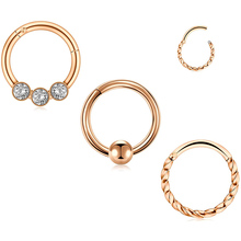 16G Stainless Steel Septum Clicker Nose Rings Hoop Cartilage Tragus Septum Ring Body Piercing Jewelry Body Jewelry    - AliExpress