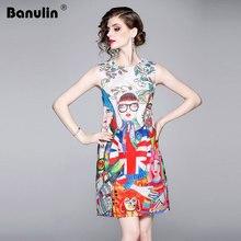 Banulin New 2019 Designer Runway Dress Womens Sleeveless Abstract Cartoon Printed O Neck Tank Ladies Slim Party