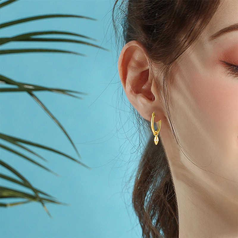 E Warna Emas Huggie Anting Anting-Anting Bulan Bintang Love Heart Cross Pesona dengan Opal Kubik Zirconia Menjuntai Hoop Perhiasan