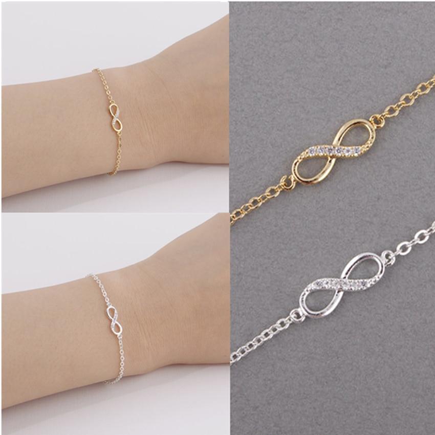 Kinitial Hot 8 Bracelet CZ Infinity Bracelets for Women Friendship Couple Bracelets Eight Shape Charm Chain Bracelets Bangles