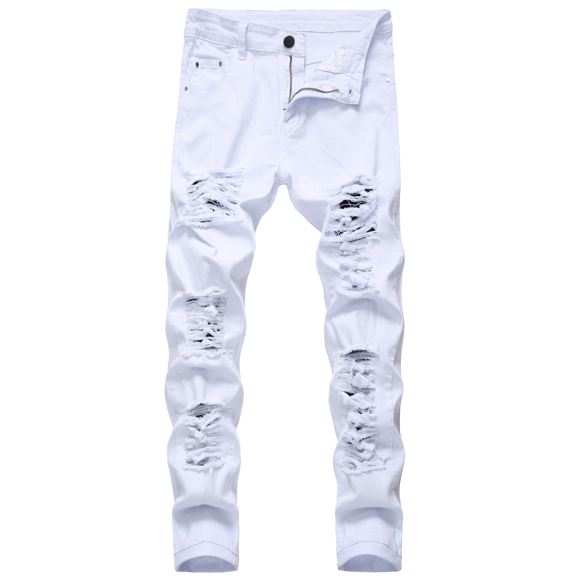 New Arrival Men's Cotton Ripped Hole Jeans Casual Slim Skinny White Jeans men Trousers Fashion Stretch hip hop Denim Pants Male