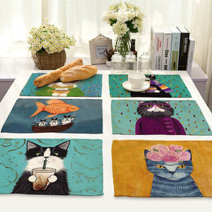 Placemat Dining-Accessories Coaster Creative Printed Kitchen Cute Animal Heat-Resistant