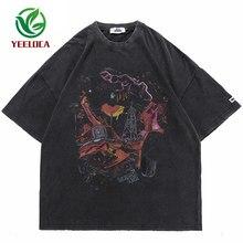 Hip Hop Oversize Washed T-Shirt Streetwear Harajuku Ripped Graphic Printed T Shirt 2021 Men Spring Summer Short Sleeve Tshirt