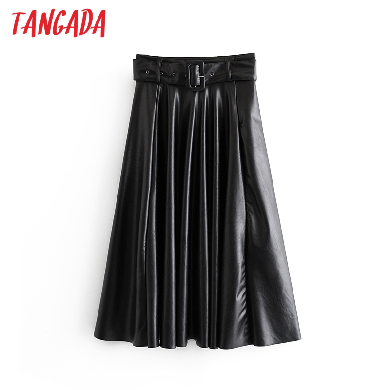 Tangada Women Faux Leather Midi Skirt Vintage With Belt Solid Female 2019 Office Ladies Elegant Chic Midi Skirts 6A295